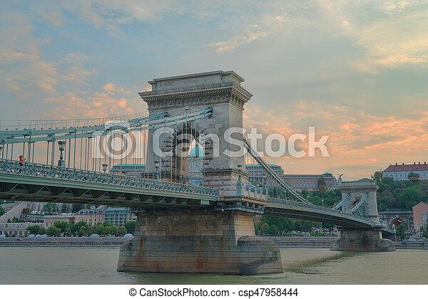 Szechenyi Chain Bridge in Budapest Hungary - csp47958444