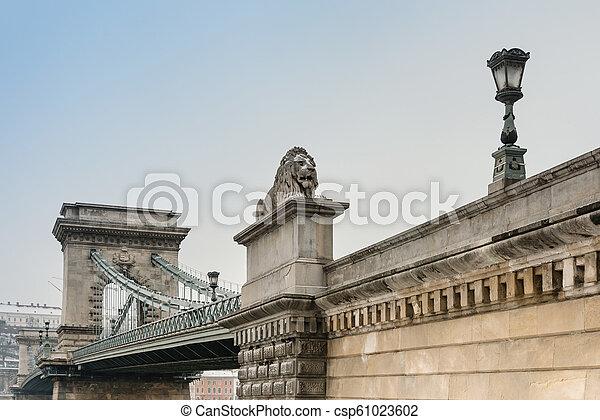 Szechenyi Chain Bridge in Budapest, Hungary, Europe - csp61023602