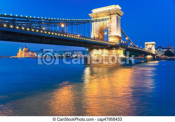 Szechenyi Chain Bridge in Budapest Hungary - csp47958433