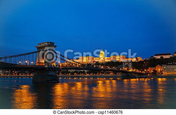 Szechenyi suspension bridge in Budapest, Hungary - csp11460676