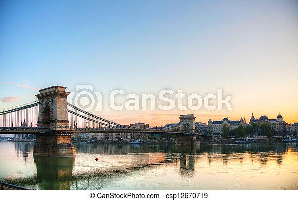 Szechenyi suspension bridge in Budapest, Hungary - csp12670719