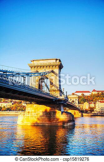 Szechenyi suspension bridge in Budapest, Hungary - csp15819276