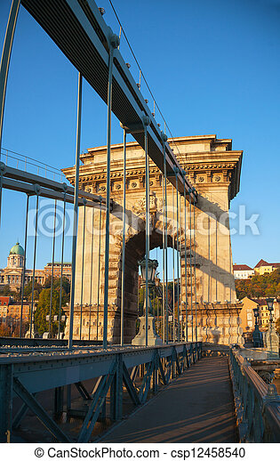 Szechenyi suspension bridge in Budapest, Hungary - csp12458540