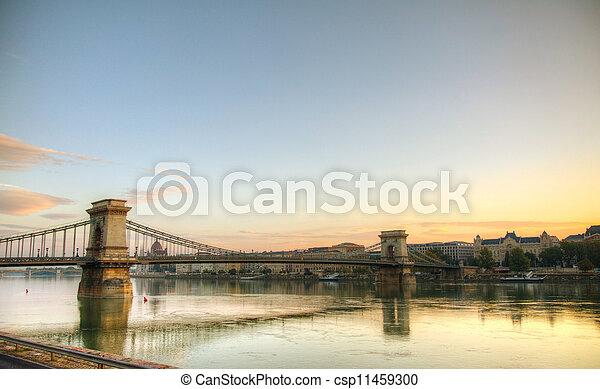 Szechenyi suspension bridge in Budapest, Hungary - csp11459300