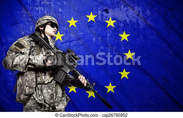 szegényház katona, lobogó, háttér, európai - csp26760952