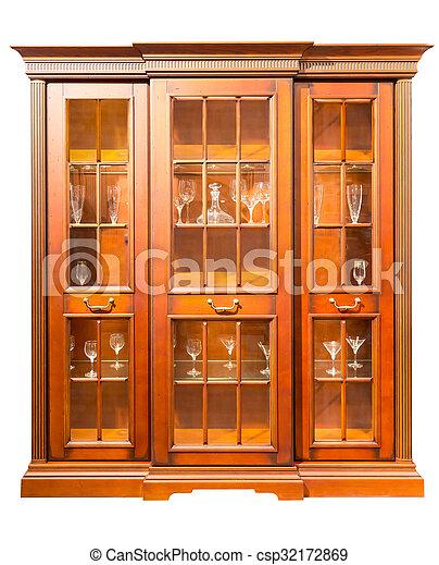 Szekrény, konyha. Elkészített, szekrény, fény, elszigetelt ...
