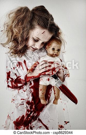 szellem, doll., életre keltett hulla, vér, kitart gyermekek, csecsemő, befedett, leány, vagy, kés - csp8629344