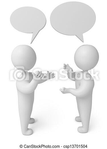 személy, beszélgetés, render, 3 - csp13701504