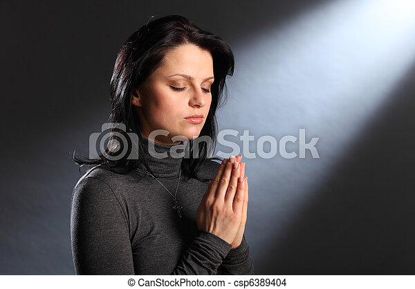szemek, nő, fiatal, vallás, pillanat, csukott, könyörgés - csp6389404