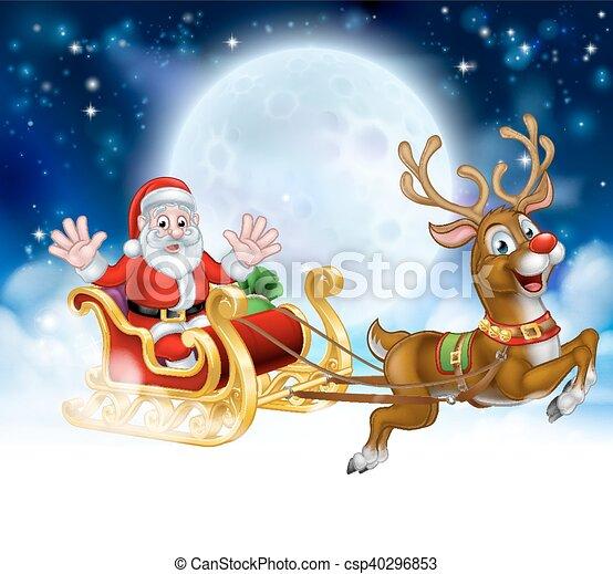 szene karikatur rentier nikolausschlitten weihnachten. Black Bedroom Furniture Sets. Home Design Ideas