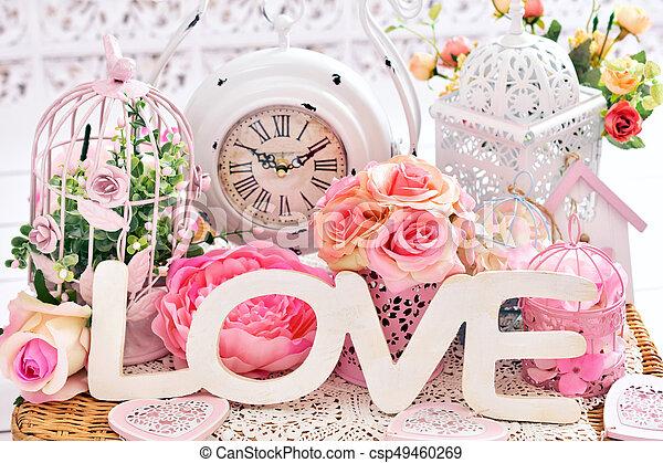 szeret, kopott, romantikus, sikk, dekoráció - csp49460269
