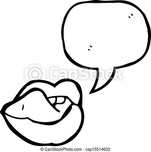 szexi, ajkak, karikatúra - csp15514632