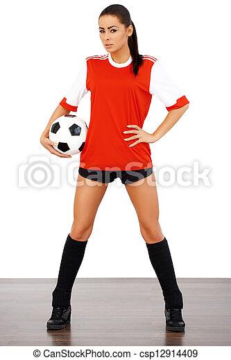 szexi, futball, női, játékos - csp12914409