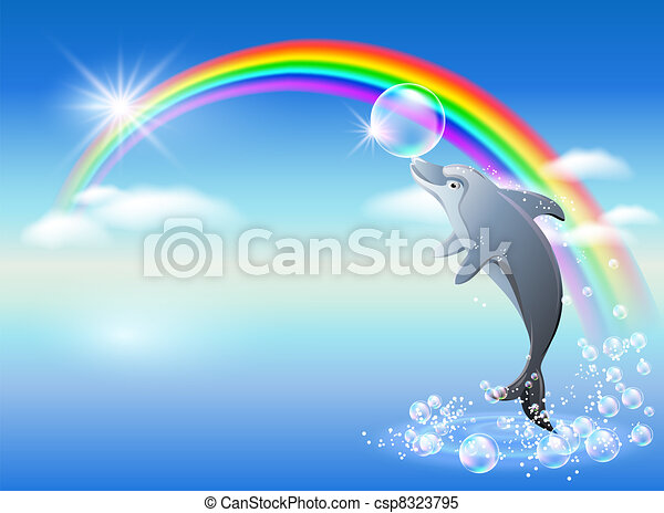 szivárvány, delfin - csp8323795