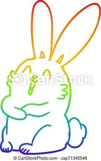 szivárvány, gradiens, karikatúra, nevető, üregi nyúl, megtölt rajz, nyuszi - csp71345548