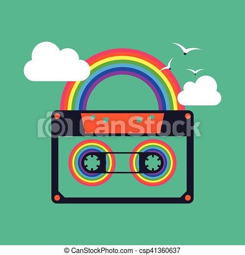 szivárvány, színes, elvont, kazetta, háttér, zene mérőszalag - csp41360637