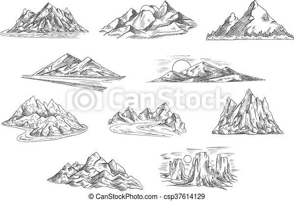 szkice, góra, krajobrazy, projektować, natura - csp37614129