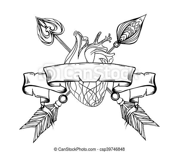 Szkice Serce Stary T Koszule Tatuaże Druk Ilustracja Wektor Projektować Strzała Eelement Scroll Czarnoskóry Biały Twój