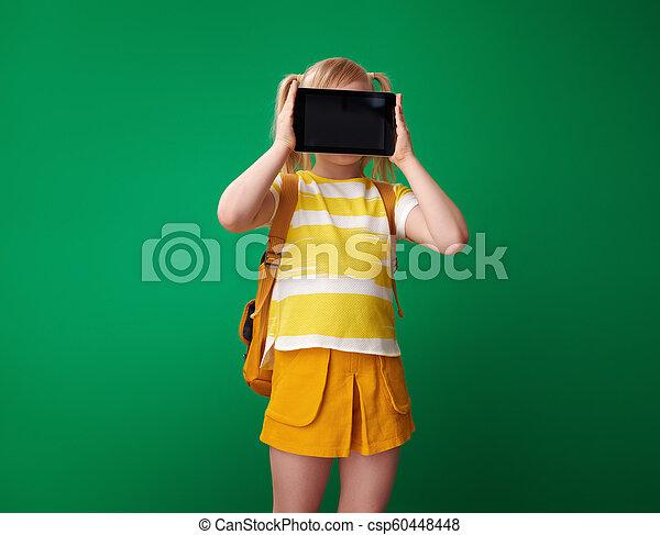 szkoła, tabliczka, pokaz, pc, czysty, dziewczyna, ekran - csp60448448