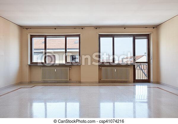szoba, emelet, nagy, belső, márvány, üres - csp41074216
