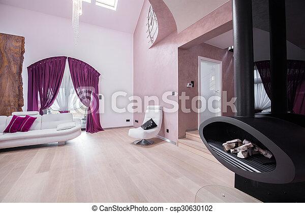 szoba, kandalló, eleven - csp30630102