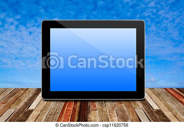 szoba, struktúra, belső, kilátás, számítógép, gyönyörű, ég, fa padló, tabletta, háttér. - csp11620756