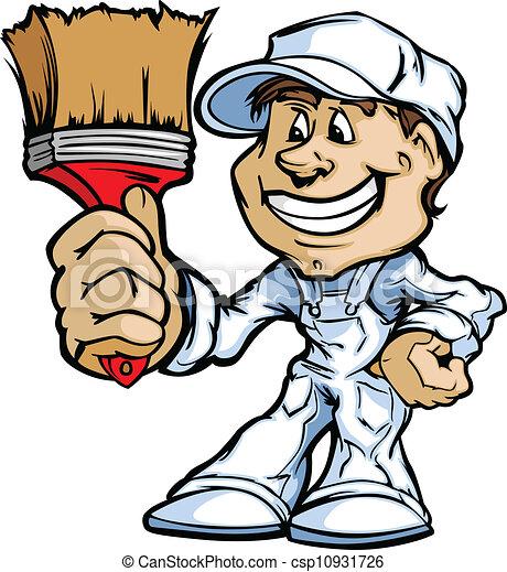 szobafestő, ecset, boldog, szállító, álló, festék, karikatúra, vecto - csp10931726