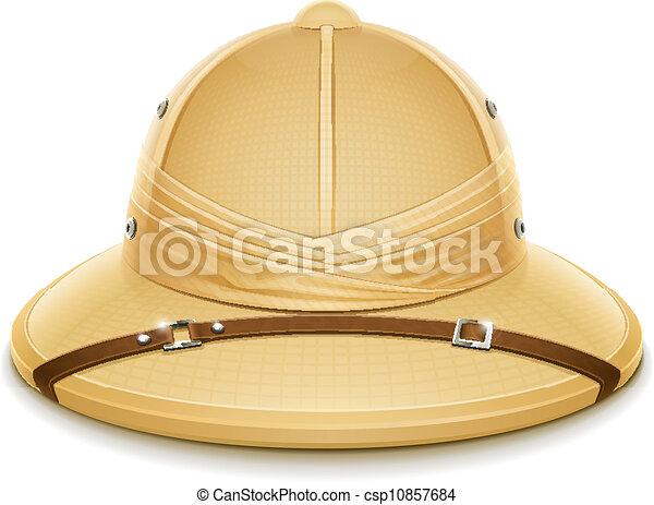 szpik, kapelusz, safari, hełm - csp10857684