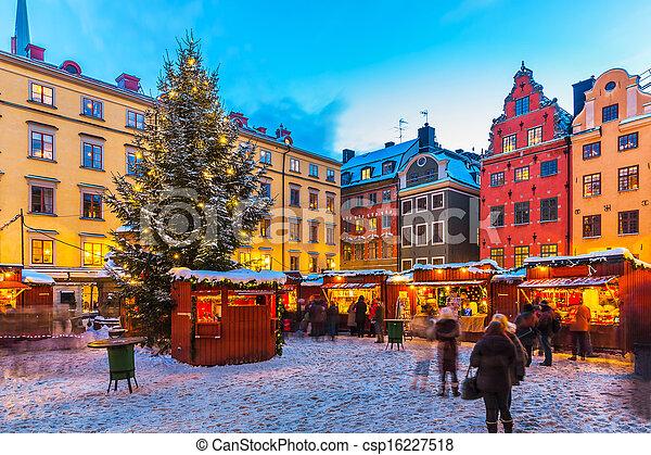 szwecja, sztokholm, jarmark, boże narodzenie - csp16227518