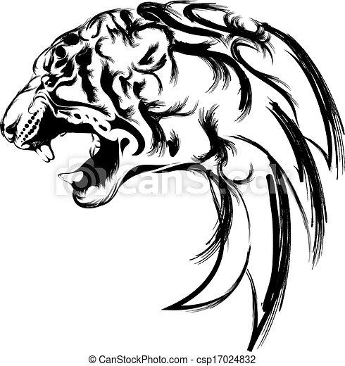 Bien connu Dessins de tête tigre - tigre, logo, tête, vecteur csp17024832  JL31