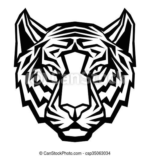 Bien connu Tête, tigre, fond, logo, blanc, mascotte. Tête, tribal  KP43
