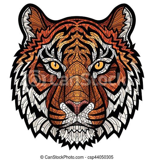 Souvent Clipart Vecteur de tête tigre, isolé - tête, couleur, graphic  RG93