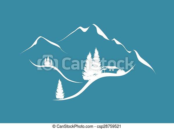 táj, hegy, kunyhó, erdei fenyők, alpesi növény - csp28759521