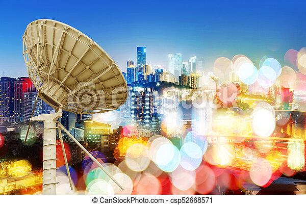 tál, város, hold kilátás, éjszaka - csp52668571