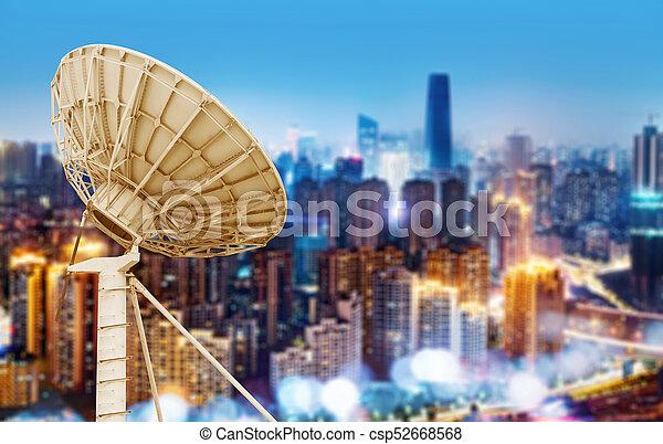 tál, város, hold kilátás, éjszaka - csp52668568