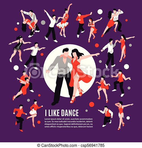 táncol, isometric, zenemű, emberek - csp56941785