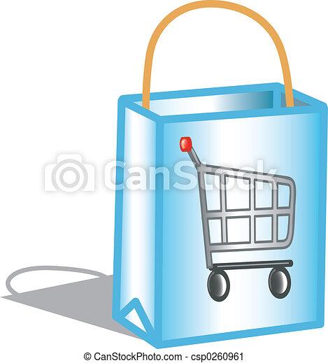 táska, bevásárlás, ikon - csp0260961
