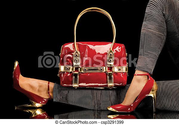 táska, cipők, piros - csp3291399