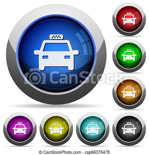 táxi, botões, redondo, lustroso - csp66376478