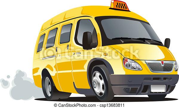 táxi, furgão, caricatura - csp13683811
