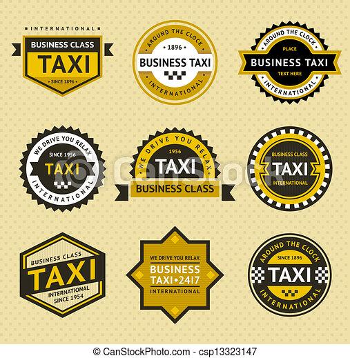 táxi, insignia, estilo, -, vindima - csp13323147