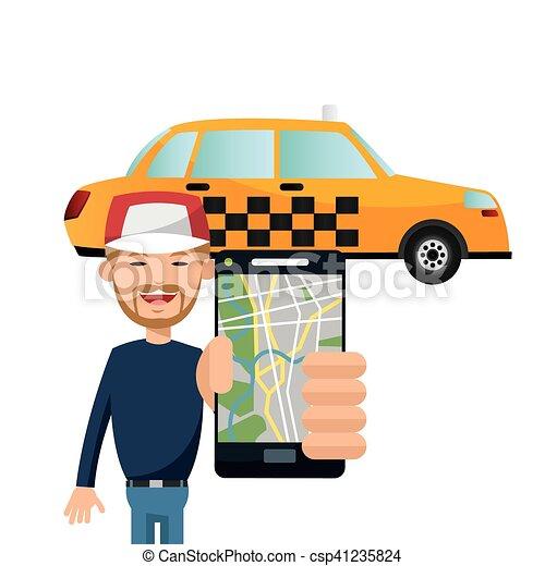 táxi, transporte, desenho, veículo - csp41235824