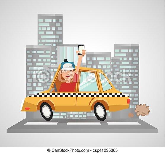 táxi, transporte, desenho, veículo - csp41235865