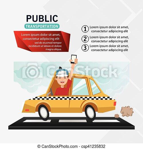 táxi, transporte, desenho, veículo - csp41235832