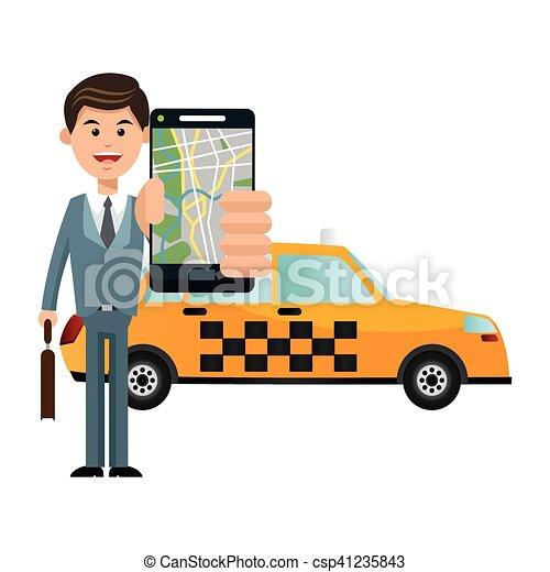 táxi, transporte, desenho, veículo - csp41235843
