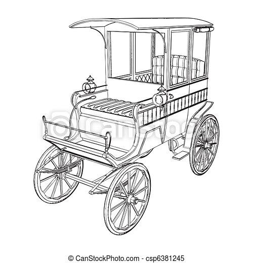 táxis, vitoriano, carruagem - csp6381245