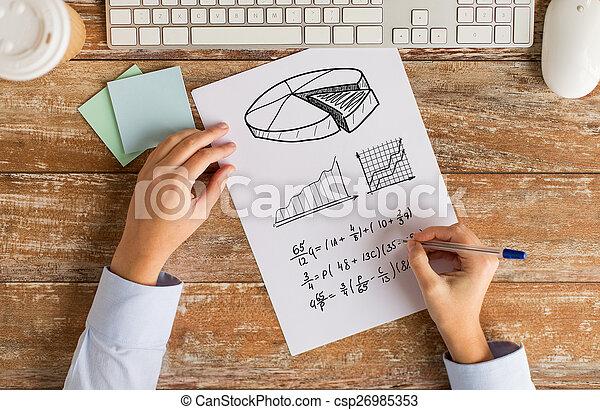tâche, équation, résoudre, haut, écriture, mains, fin, ou - csp26985353