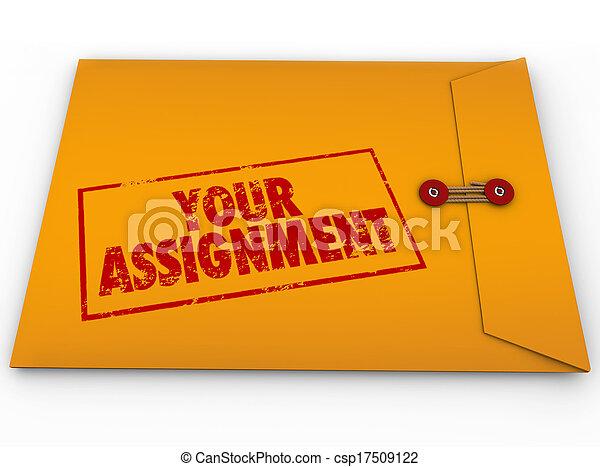 tâche, tâche, enveloppe, jaune, top secret, ton, instructions - csp17509122
