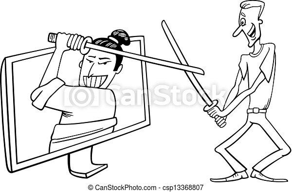 T l viseur homme dessin anim interactif rigolote t l vision regarde illustration jouer - Dessin interactif ...