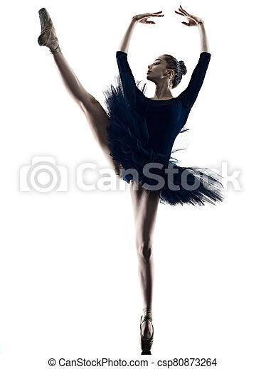 tänzer, ballett, silhouette, hintergrund, tanzen, freigestellt, weißes, frau, junger, ballerina - csp80873264
